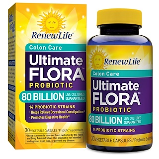 Renew Life, Colon Care, Ultimate Flora Probiotic, 80 Billion Live Cultures, 30 Vegetable Capsules