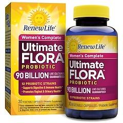 Renew Life, Women's Complete, Ultimate Flora Probiotic, 90 Billion Live Cultures, 30 Vegetable Capsules