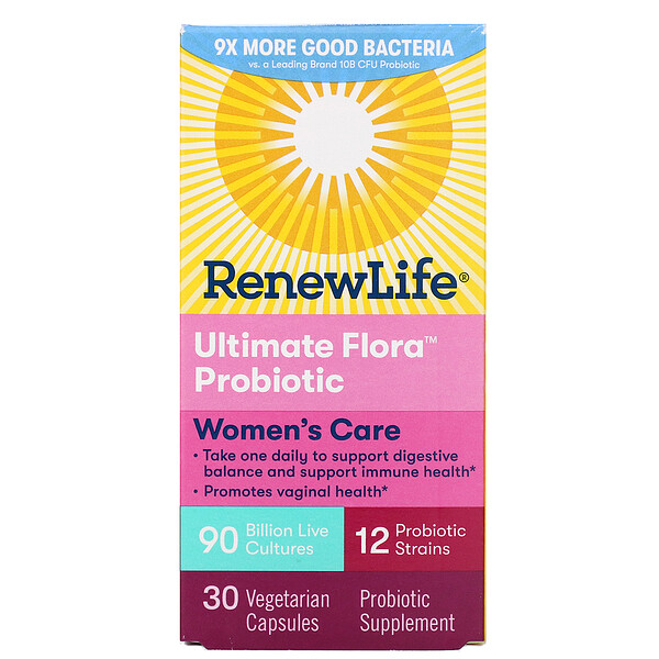 Renew Life, Women's Care, Ultimate Flora Probiotic, 90 Billion Live Cultures, 30 Vegetarian Capsules (Discontinued Item)