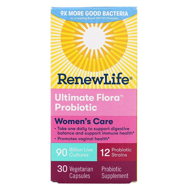 Renew Life, Women's Care, Ultimate Flora Probiotic, 90 Billion Live Cultures, 30 Vegetarian Capsules