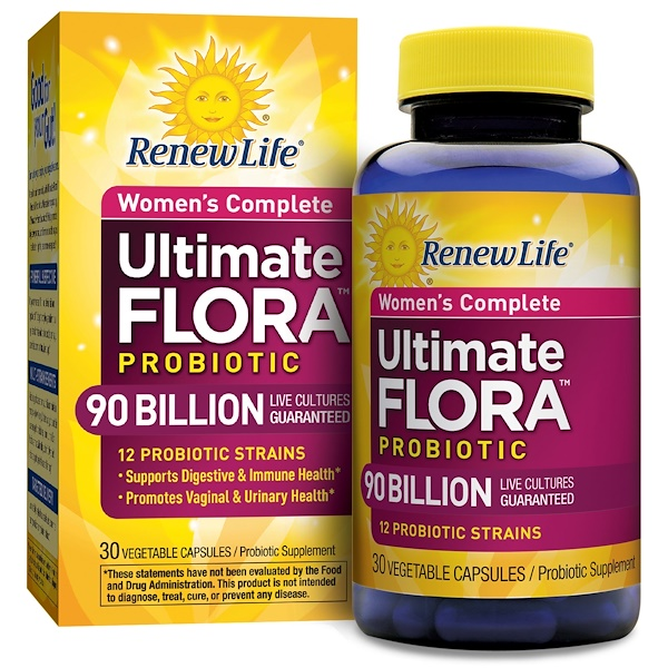Renew Life, Women's Complete, Ultimate Flora Probiotic, 90 Billion Live Cultures, 30 Vegetable Capsules