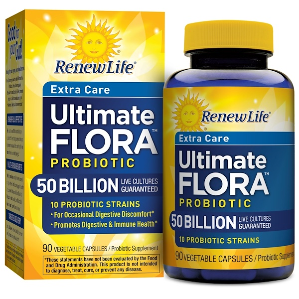Renew Life, Extra Care, Ultimate Flora Probiotic, 50 Billion, 90 Vegetable Capsules