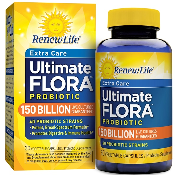 Renew Life, Extra Care, Ultimate Flora Probiotic, 150 Billion Live Cultures, 30 Vegetable Capsules
