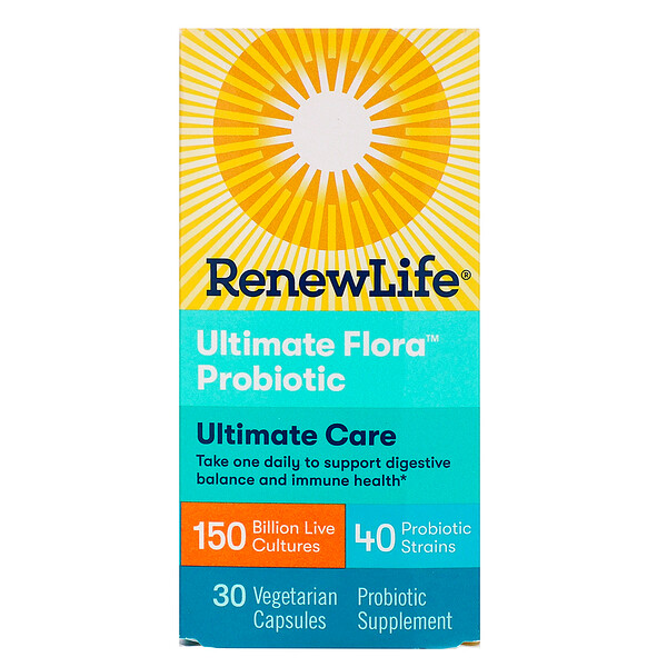Renew Life, Ultimate Care, Ultimate Flora Probiotic, 150 Billion Live Cultures, 30 Vegetarian Capsules (Ice)  (Discontinued Item)
