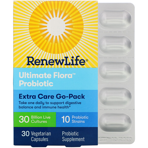 Extra Care Go-Pack, Ultimate Flora Probiotic, 30 Billion Live Cultures, 30 Vegetarian Capsules
