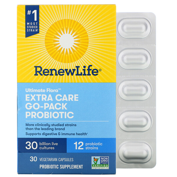 Renew Life, Ultimate Flora, Extra Care Go-Pack, Probiotic, 30 Billion Live Cultures, 30 Vegetarian Capsules