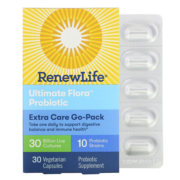 Renew Life, Ultimate Flora Probiotic, Extra Care Go-Pack, 30 Billion Live Cultures, 30 Vegetarian Capsules