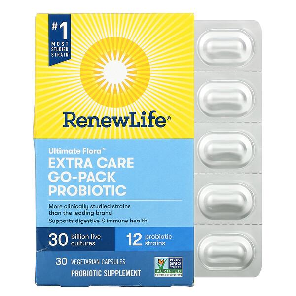 Ultimate Flora, Extra Care Go-Pack Probiotic, 30 Billion Live Cultures, 30 Vegetarian Capsules