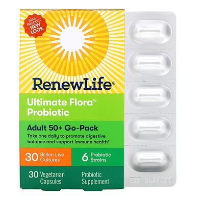 Adult 50+ Go-Pack, Ultimate Flora Probiotic, 30 Billion Live Cultures, 30 Vegetarian Capsules