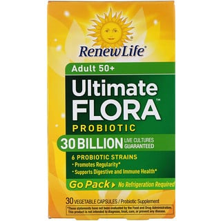 Renew Life, 成人50+、究極のフローラプロバイオティック、30億の生きた菌株、植物性カプセル30個
