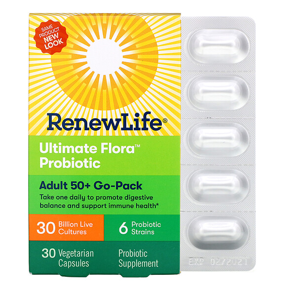 Renew Life, Adult 50+ Go-Pack, Ultimate Flora Probiotic, 30 Billion Live Cultures, 30 Vegetarian Capsules