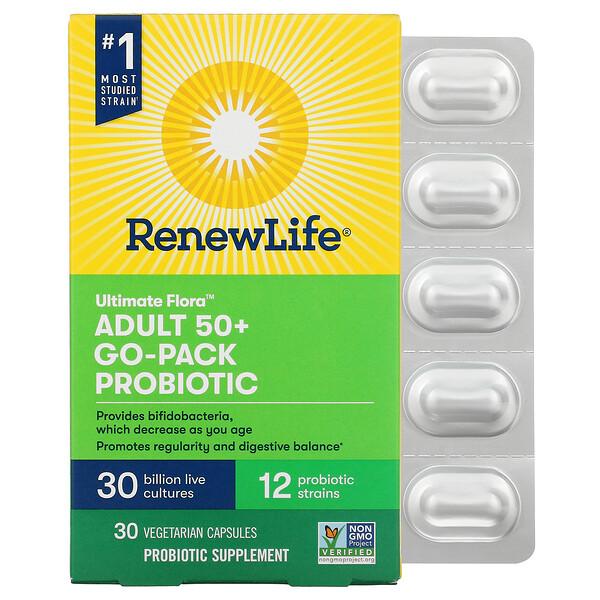 Ultimate Flora, Adult 50+ Go-Pack Probiotic, 30 Billion Live Cultures, 30 Vegetarian Capsules