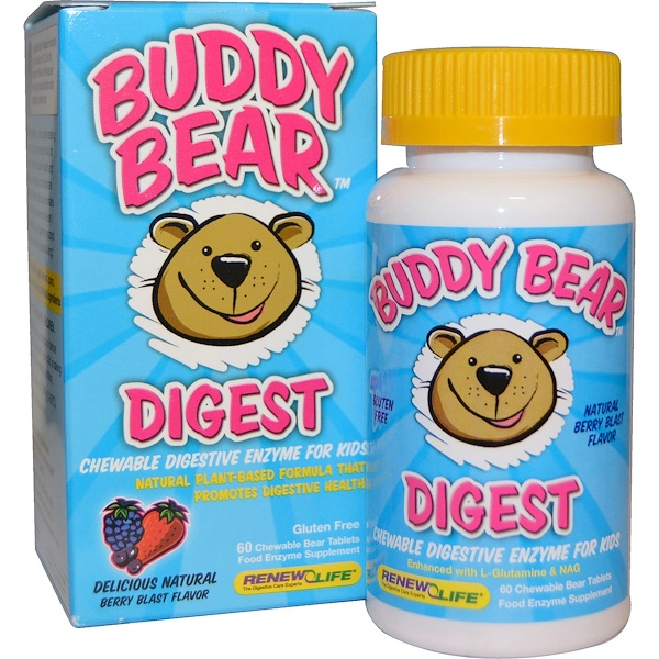Renew Life, Buddy Bear, Digest, Berry Blast Flavor, 60 Chewable Bear Tablets (Discontinued Item)