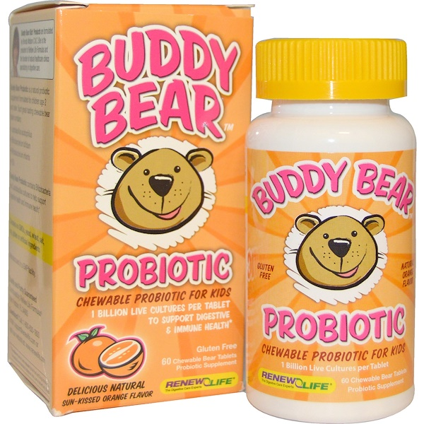 Renew Life, Buddy Bear Probiotic, Sun-Kissed Orange Flavor, 60 Chewable Bear Tablets (Discontinued Item)