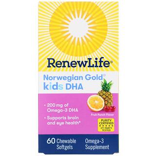 Renew Life, Norwegian Gold, Kids DHA, Fruit Punch Flavor, 200 mg, 60 Chewable Softgels