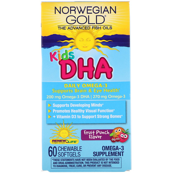 Renew Life, Norwegian Gold, Kids DHA, Fruit Punch Flavor, 60 Chewable Softgels