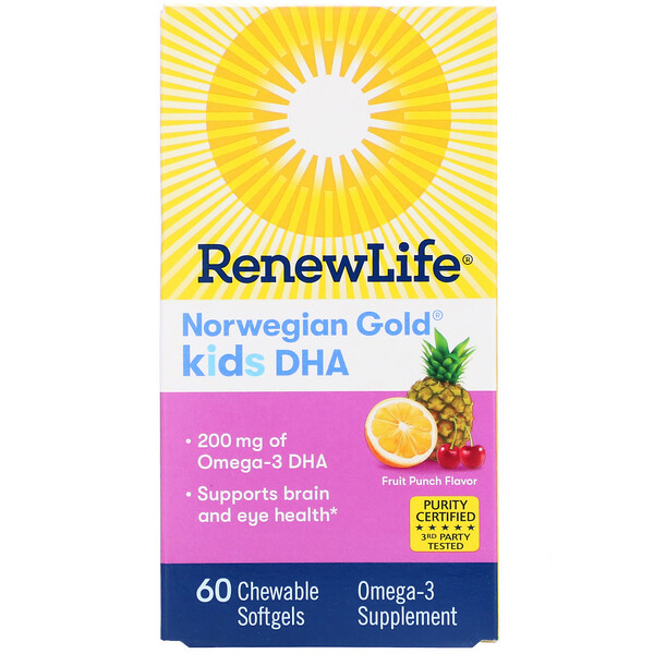 Renew Life, Norwegian Gold, Kids DHA, Fruit Punch Flavor, 200 mg, 60 Chewable Softgels