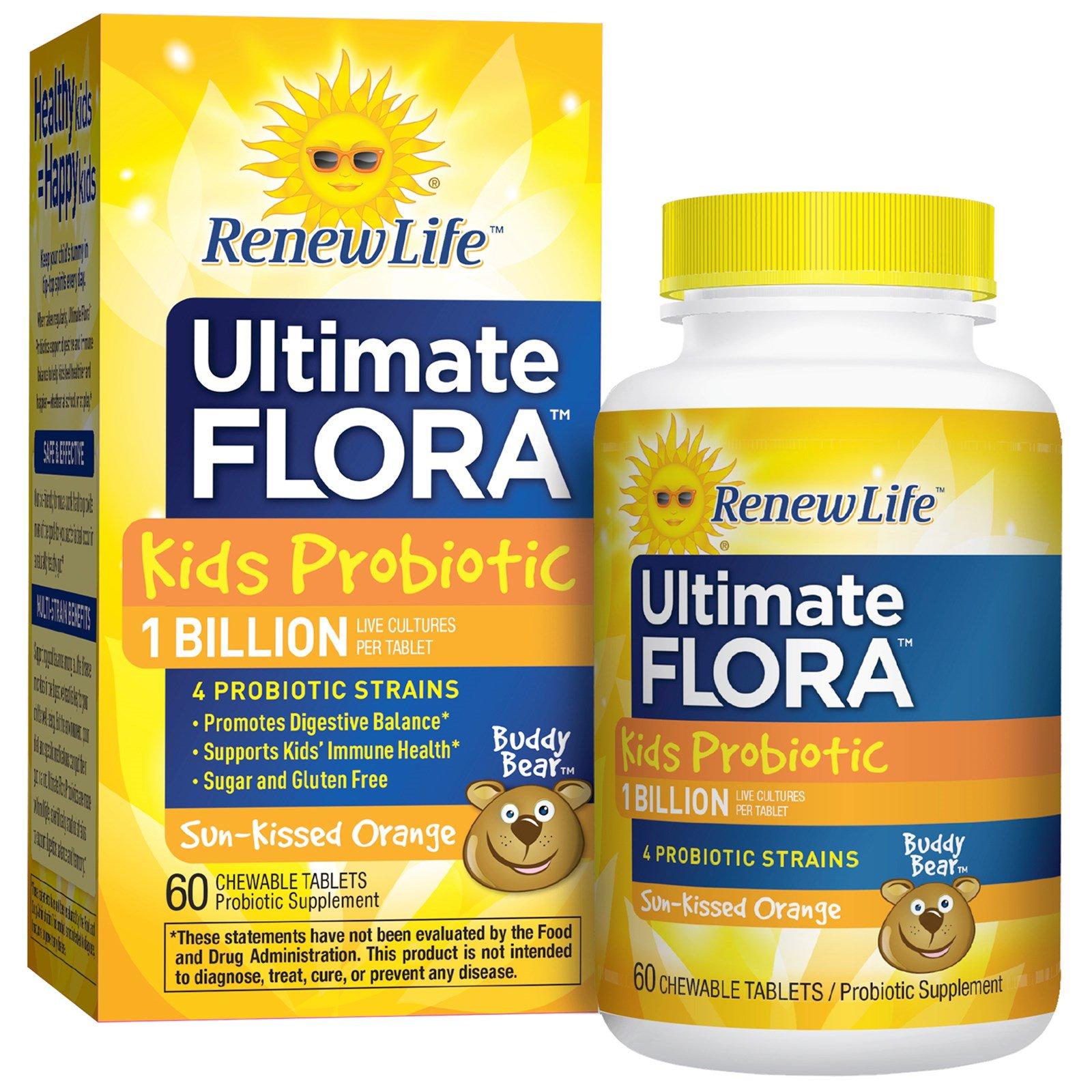 Renew Life, Пробиотики для детей Ultimate Flora, высушенный на солнце апельсин, 3 млрд живых культур, 60 жевательных таблеток