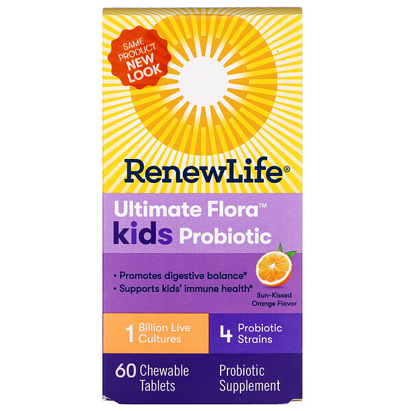 Ultimate Flora Kids Probiotic, Sun-Kissed Orange Flavor, 1 Billion Live Cultures, 60 Chewable Tablets