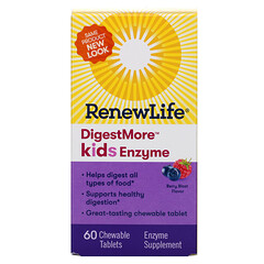Renew Life, DigestMore, Kids Enzyme, Berry Blast Flavor, 60 Chewable Tablets