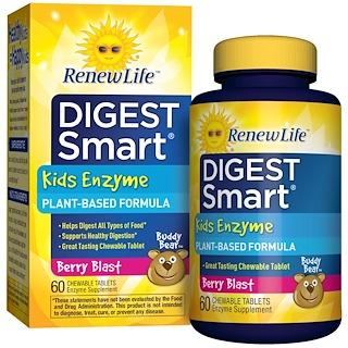 Renew Life, ダイジェストスマート、子供用酵素、ベリーブラスト、60錠(チュアブル)