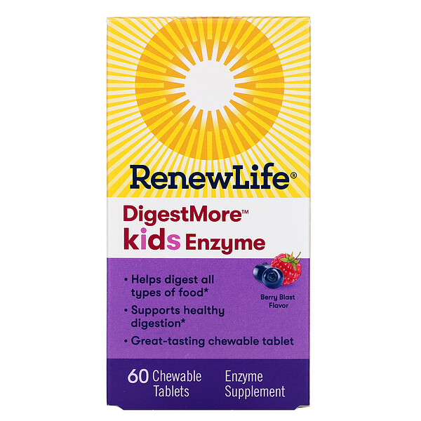Renew Life, DigestMore Kids Enzyme, Berry Blast Flavor, 60 Chewable Tablets