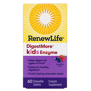 Ренев Лифе, DigestMore Kids Enzyme, Berry Blast Flavor, 60 Chewable Tablets отзывы покупателей