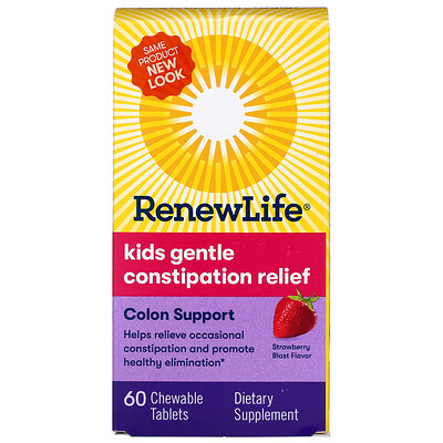 Renew Life Kids Gentle Constipation Relief, Strawberry Blast Flavor, 60 Chewable Tablets