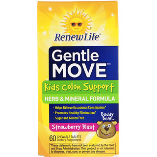 Renew Life, Movimento Sutil, Auxílio Ao Intestino Para Crianças, Morango, 60 comprimidos mastigáveis
