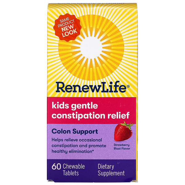 Renew Life, Kids Gentle Constipation Relief, Strawberry Blast Flavor, 60 Chewable Tablets
