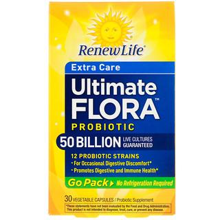 Renew Life, エクストラケア、アルティメットフローラプロバイオティクス、500億の生きている菌、30植物性カプセル