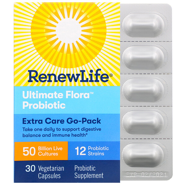 Renew Life, Extra Care Go-Pack, Ultimate Flora Probiotic, 50 Billion Live Cultures, 30 Vegetarian Capsules