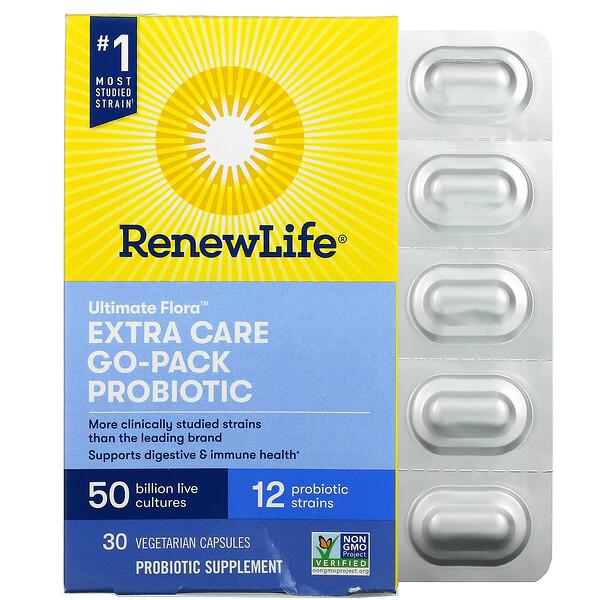 Renew Life, Extra Care Go-Pack, Ultimate Flora Probiotic, 50 Billion Live Cultures, 30 Vegetarian Capsules