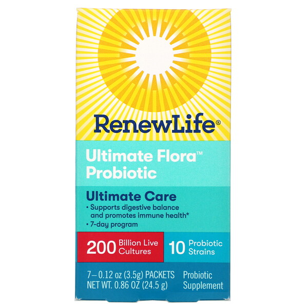 Renew Life, Ultimate Care, פרוביוטיקה Ultimate Flora, 200 מיליארד תרביות חיות, 7 חפיסות, 24.5 גר' (0.86 oz)