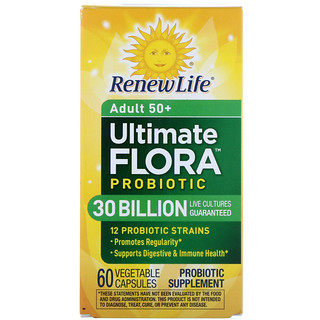 Renew Life, Adult 50+, Ultimate Flora Probiotic, 30 Billion Live Cultures, 60 Vegetable Capsules