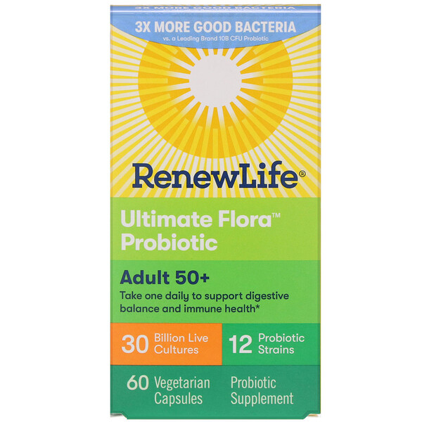 Renew Life, Ultimate Flora Probiotic, Adult 50+, 30 Billion Live Cultures, 60 Vegetable Capsules