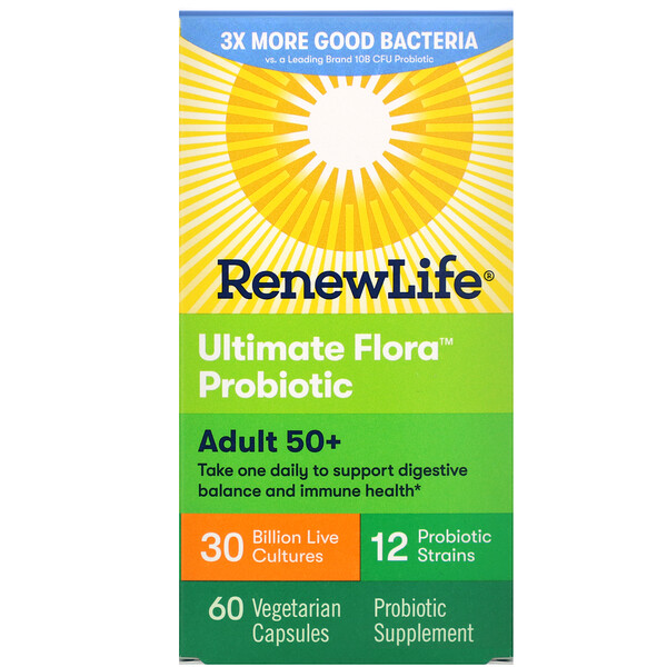 Renew Life, Adult 50+ Ultimate Flora Probiotic, 30 Billion Live Cultures, 60 Vegetarian Capsules (Discontinued Item)