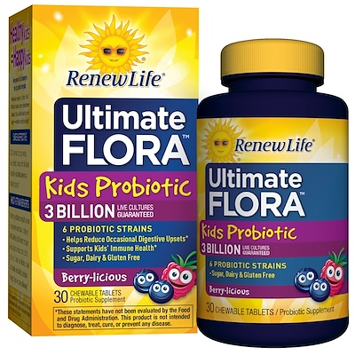 Пробиотики для детей, Ultimate Flora, ягодный вкус, 3 млрд. живых культур, 30 жевательных таблеток kid vits ягодный взрыв 120 жевательных таблеток