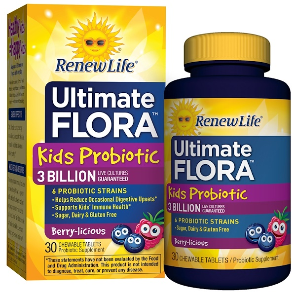 Renew Life, Kids Probiotic, Ultimate Flora, Berry-licious, 3 Billion Live Cultures, 30 Chewable Tablets