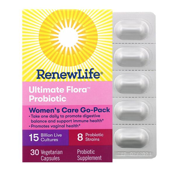 महिलाओं की देखभाल के लिए गो-पैक, अल्टीमेट फ़्लोरा प्रोबायोटिक, 15 बिलियन लाइव कल्चर्स, 30 शाकाहारी कैप्सूल