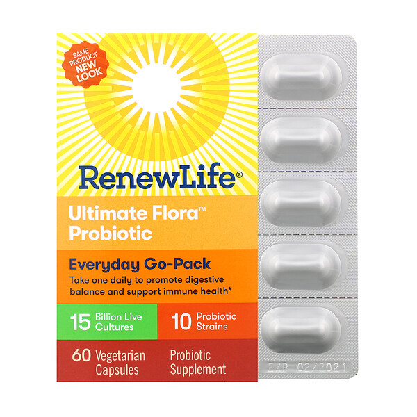 Renew Life, Everyday Go-Pack, Ultimate Flora Probiotic, 15 Billion Live Cultures, 60 Vegetarian Capsules