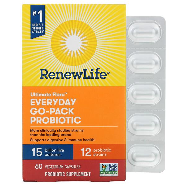Everyday Go-Pack, Ultimate Flora Probiotic, 15 Billion Live Cultures, 60 Vegetarian Capsules