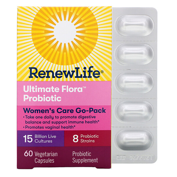 Renew Life, Women's Care Go-Pack , Ultimate Flora Probiotic, 15 Billion Live Cultures, 60 Vegetarian Capsules