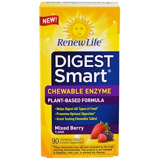 Renew Life, Digest Smart, Chewable Enzyme, Mixed Berry, 90 Chewable Tablets