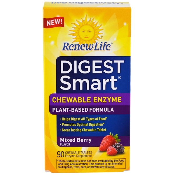 Renew Life, Digest Smart, Chewable Enzyme, Mixed Berry, 90 Chewable Tablets (Discontinued Item)