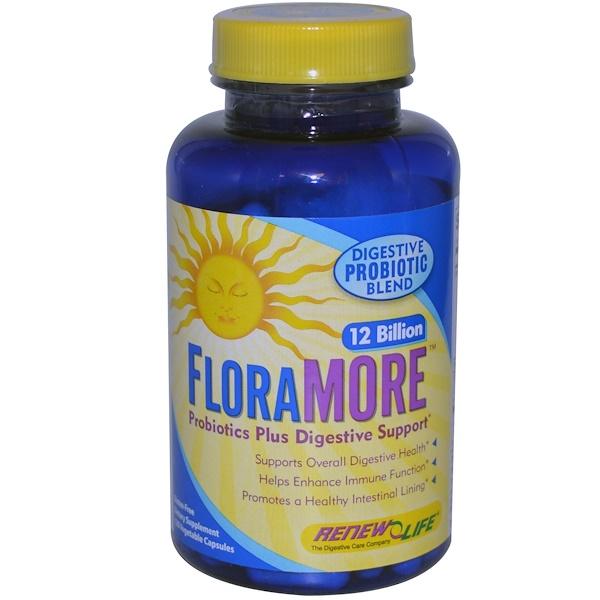 Renew Life, FloraMore, Probiotic Plus Digestive Support, 120 Veggie Caps (Discontinued Item)