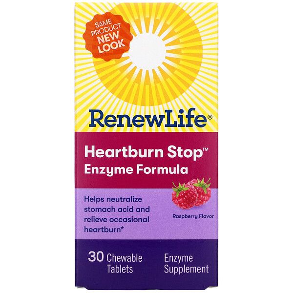 Heartburn Stop, Raspberry Flavor, 30 Chewable Tablets