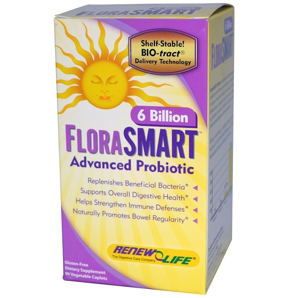 Renew Life, FloraSmart 6 Billion, Advanced Probiotic, 90 Veggie Caplets (Discontinued Item)