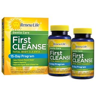 Renew Life, ジェントルケア、ファーストクレンズ、ボトル2本、植物性カプセル各30錠