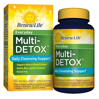Renew Life, Everyday, Multi-Detox, Daily Cleansing Support, 120 Vegetable Capsules